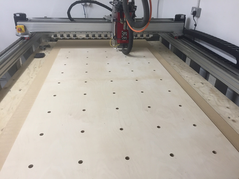 CNC accurately spaced holes in birch plywood