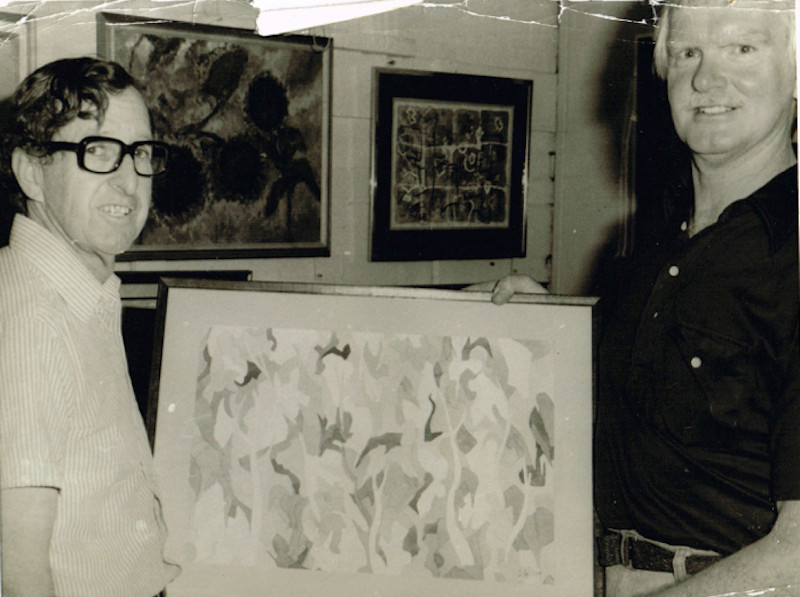 "Jack Wilson with his winning work ""Jungle"" in 1979."