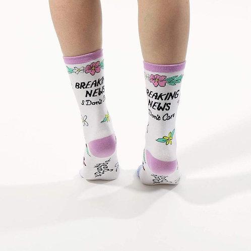 Breaking News I Don't Care Socks