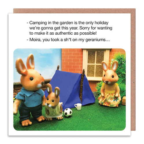 Camping In the Garden Greeting Card