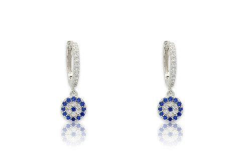 Silver & Blue CZ Earrings