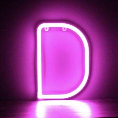 Neon Letter D Pink