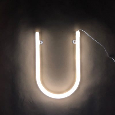 Neon Letter U White