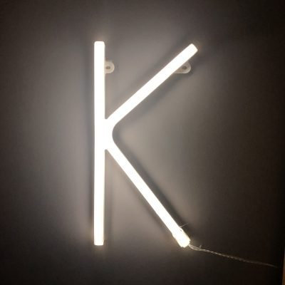 Neon Letter K White