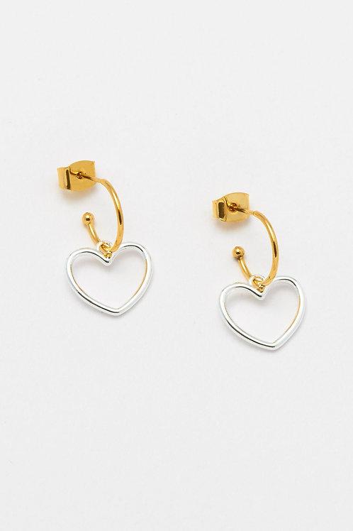 Drop Hoop Earrings With Silver Hearts