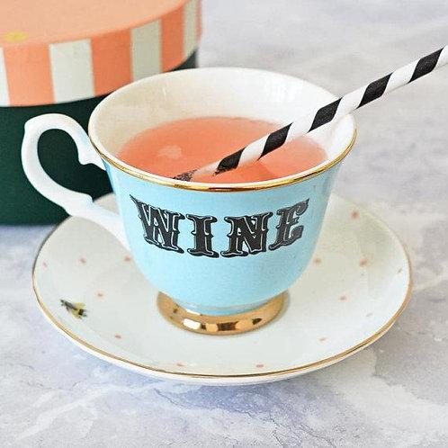 Wine Tea Cup & Saucer