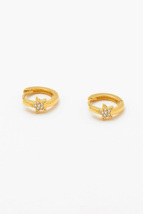 Gold Plated Hoop Earrings With CZ Star