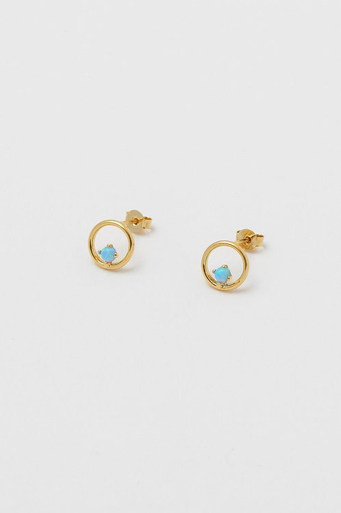 Gold Plated Opal Circle Earrings