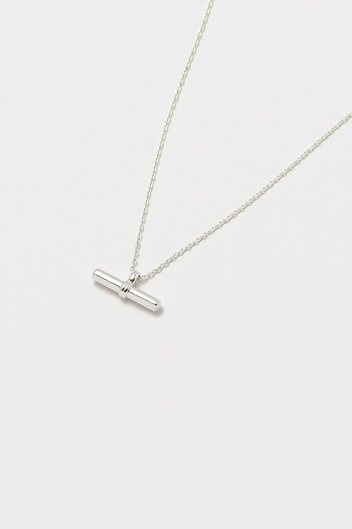 Silver Plated T Bar Necklace