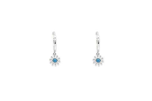 Silver Starburst Drop Earrings