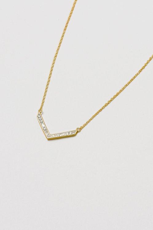 Gold Cubic Zirconia Baguette Necklace