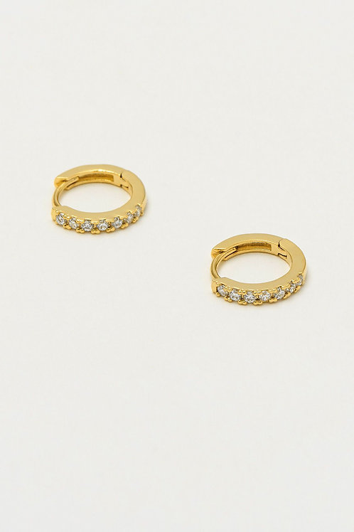Gold Hoop Earrings With White CZ