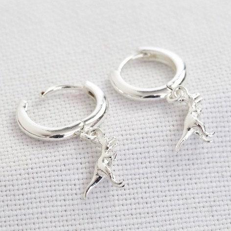 T-Rex Huggie Hoop Earrings in Silver