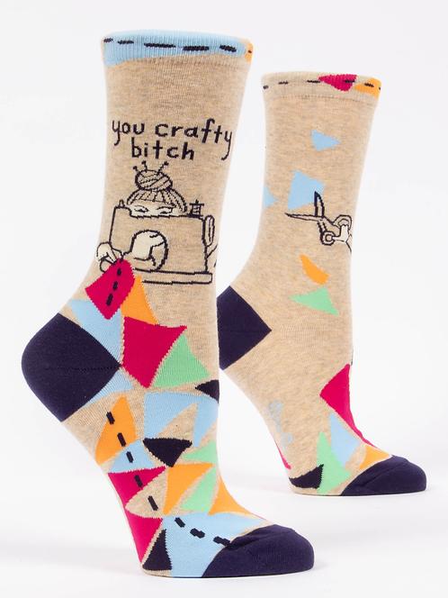 You Crafty Bitch Womens Crew Socks