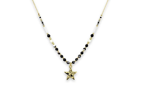 Black & Gold Star Charm Necklace