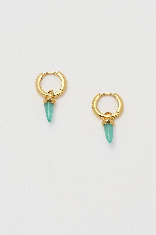 Aqua Chalcedony Gold Spike Drop Earrings