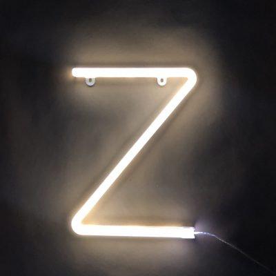 Neon Letter Z White