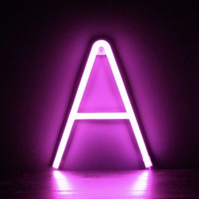 Neon Letter A Pink