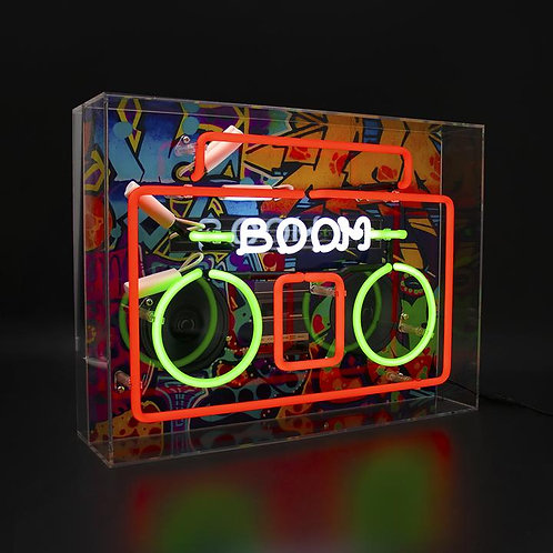 Boom Box  Large Glass Neon Sign