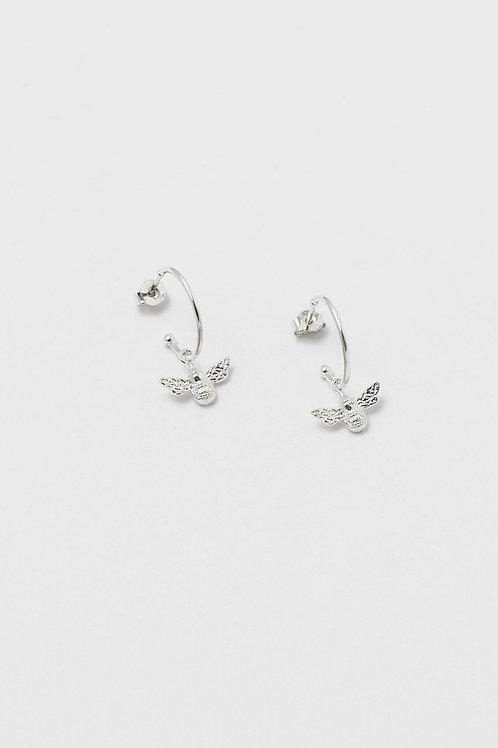 Silver Plated Bee Drop Earrings