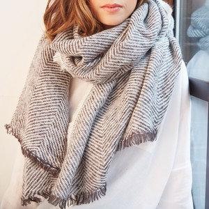 Grey Herrinbone Blanket scarf