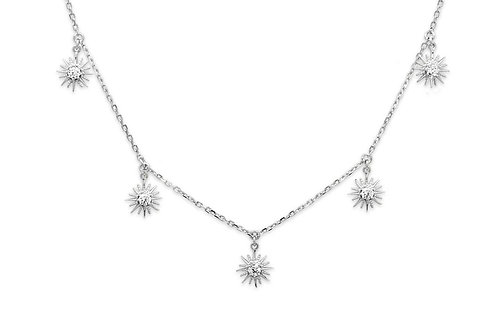 Sunburst Charm Silver Necklace