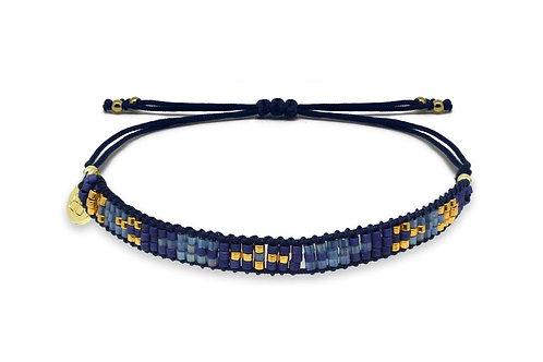 3 Row Blue Beaded Friendship Bracelet