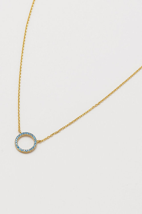 Gold Plated Blue CZ Circle Necklace