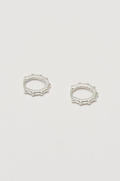 Silver Plated Granulate Hoop Earrings