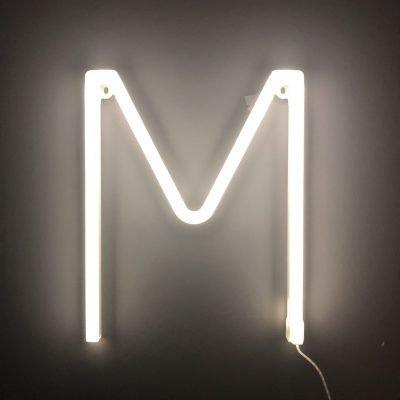 Neon Letter M White