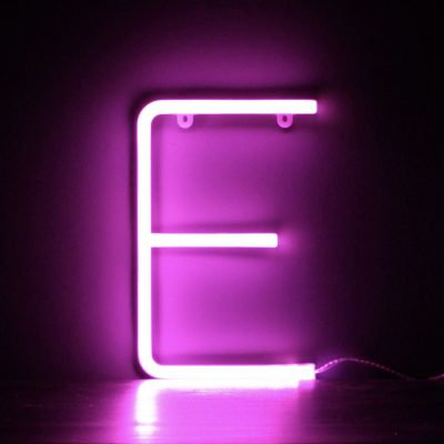 Neon Letter E Pink