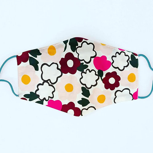 Bold Floral Cotton Face Mask