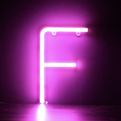 Neon Letter F Pink