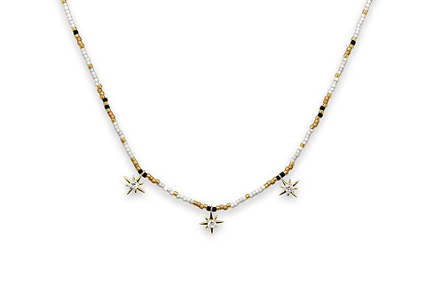Grey & Gold Star Charm Beaded Choker Necklace