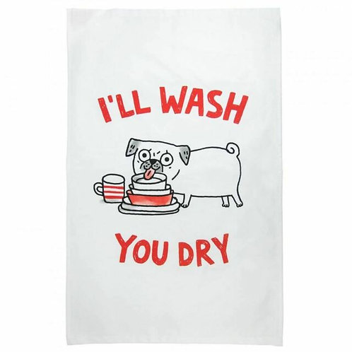 Gemma Correll Pug Tea Towel