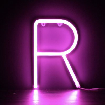 Neon Letter R Pink