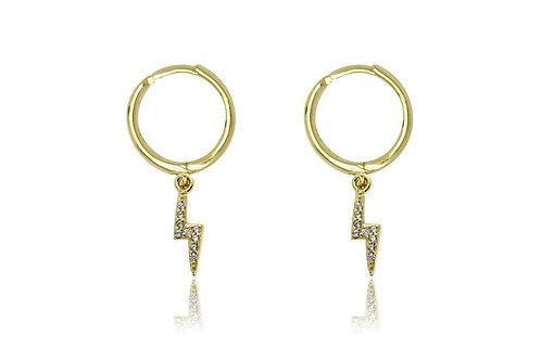 Gold Lightening Bolt Earrings