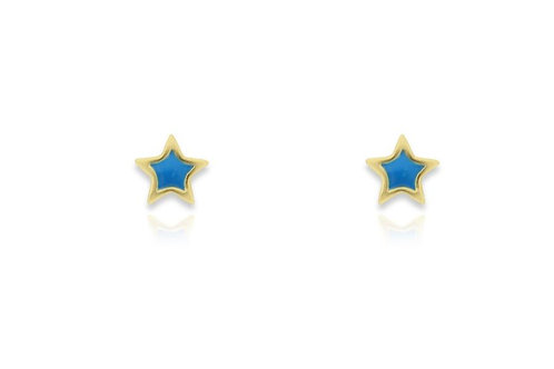 Gold Star Aqua Stud Earrings