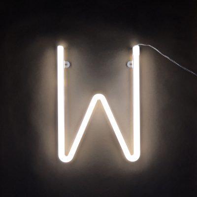 Neon Letter W White