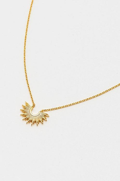 Gold Plated Half Sunburst Necklace