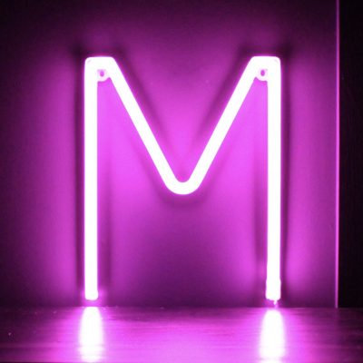 Neon Letter M Pink