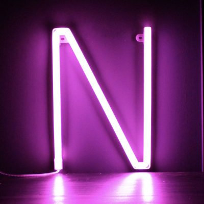 Neon Letter N Pink
