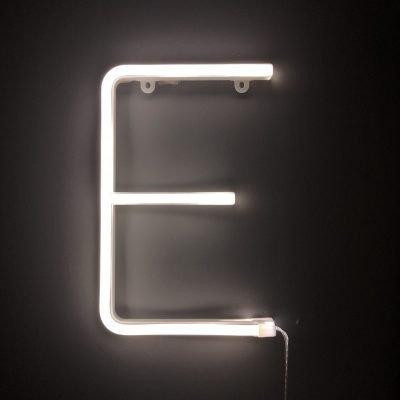 Neon Letter E White