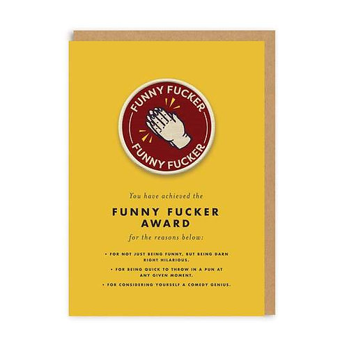 Funny Fucker Woven Patch Greeting Card