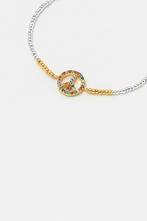 Silver & Gold Peace Rainbow Bracelet