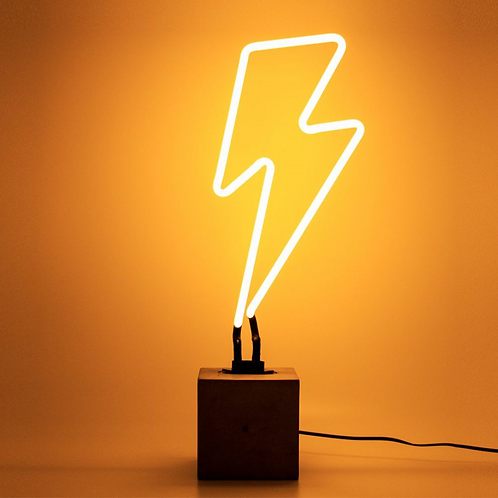 Neon Lightning Bolt Table Light