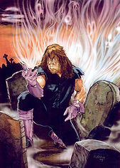 "The Undertaker- 11.5""x 16""-  WWE merchandise catalog art- $1,200"