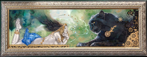 Beauty and the Beast framed giclee on canvas
