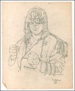 "Bret ""The Hitman"" Hart original preliminary sketch"