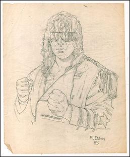 "Bret ""The Hitman"" Hart original preliminary sketch"